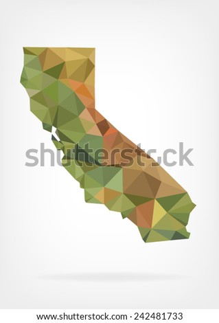 Low Poly map of California state - stock vector