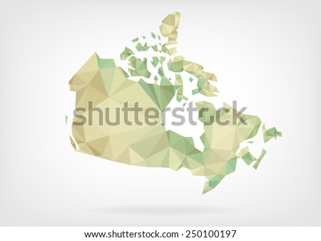 Low Poly map of Canada - stock vector
