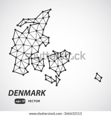 Low Poly Map of Denmark isolated - stock vector
