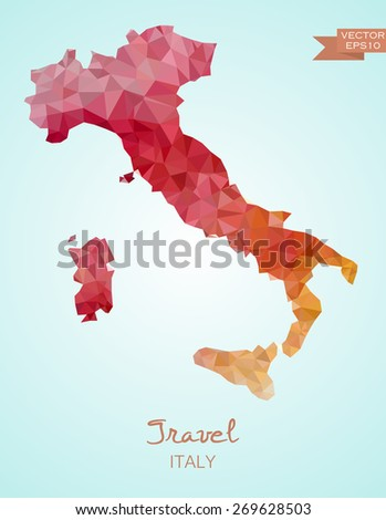 Low Poly Map of Italy isolated. Vector version - stock vector