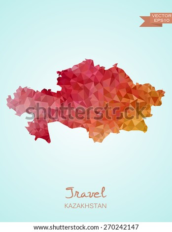 Low Poly map of Kazakhstan isolated. Vector version - stock vector