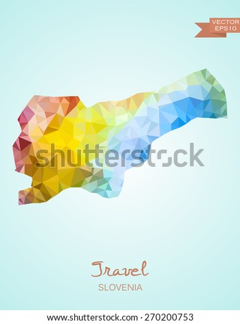 Low Poly map of Slovenia isolated. Vector version - stock vector