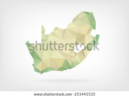 Low Poly map of South Africa - stock vector