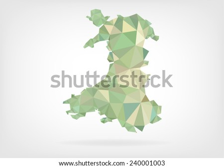 Low Poly map of Wales - stock vector