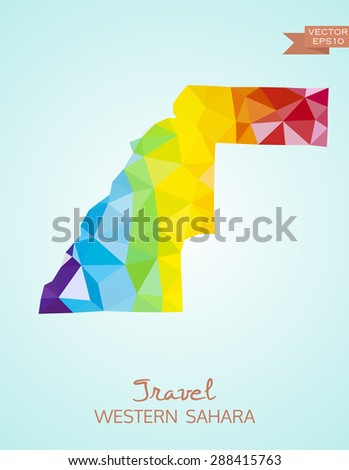 Low poly map of Western Sahara isolated on background. Vector version - stock vector