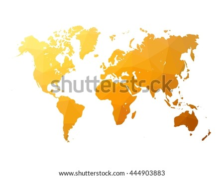 Low poly map of world. World map made of triangles. Orange polygonal shape vector illustration on white background. - stock vector