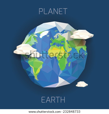 Low poly planet Earth.vector illustration - stock vector