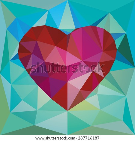 Low poly red heart - stock vector