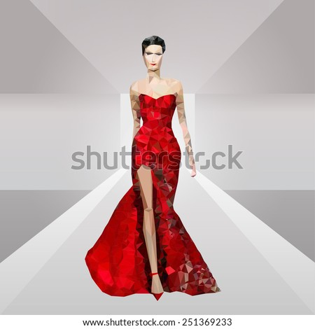 Low poly trendy vector fashion model in red dress illustration on podium. Abstract polygonal collection - stock vector
