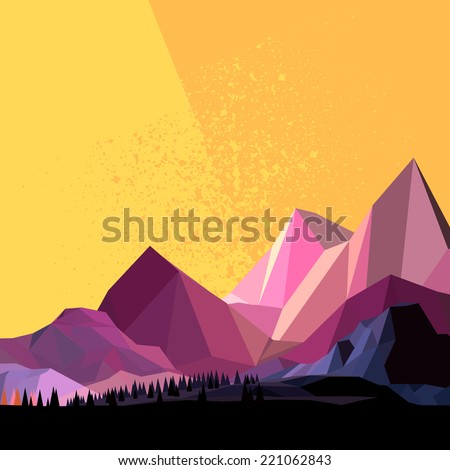 Low Poly Vector Mountain landscape. - stock vector