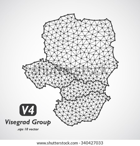 Low poly Visegrad Four map. Group of middle Europe states - Slovakia, Poland, Hungary, Czech republic - stock vector