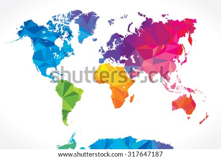 Low poly world map - stock vector