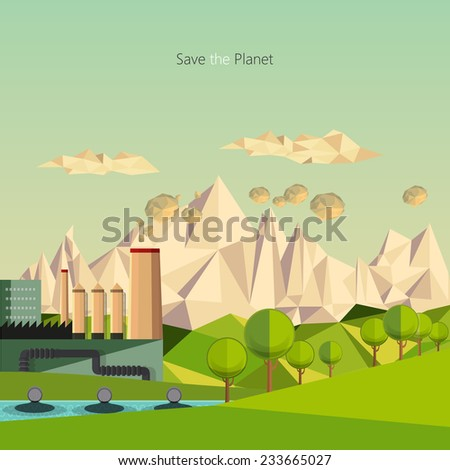 low polygon landscape environmental pollution theme. - stock vector