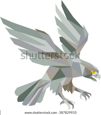 Low polygon style illustration in grey of a peregrine falcon hawk eagle bird swooping viewed from the side set on isolated white background done in retro style. - stock vector