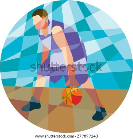 Low polygon style illustration of a basketball player dribbling ball facing front set inside circle.  - stock vector