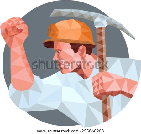 Low Polygon style illustration of a coal miner wearing hardhat pumping fist  holding pick axe and showing fist viewed from the side set inside circle. - stock vector