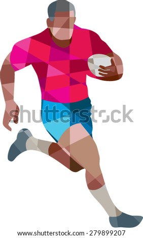 Low polygon style illustration of a rugby player holding ball running to the side set on isolated white background.  - stock vector
