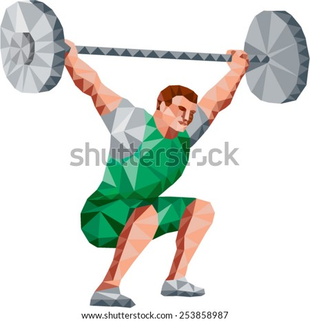 Low Polygon style illustration of a weightlifter lifting barbell facing side set on isolated white background.  - stock vector