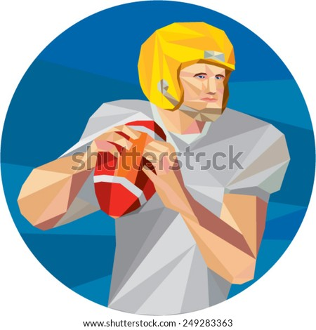 Low polygon style illustration of an american football gridiron quarterback player holding ball facing side set inside circle on isolated background.  - stock vector