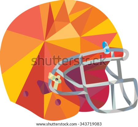 Low polygon style illustration of an american football helmet headgear viewed from side set on isolated white background.  - stock vector