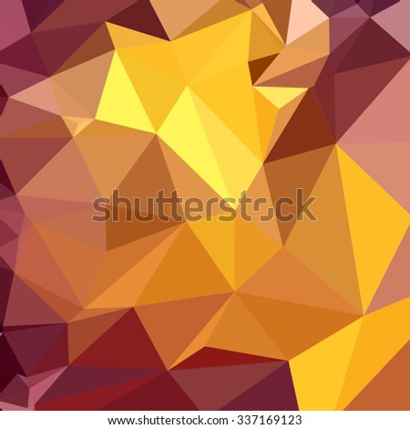 Low polygon style illustration of golden poppy yellow abstract geometric background. - stock vector