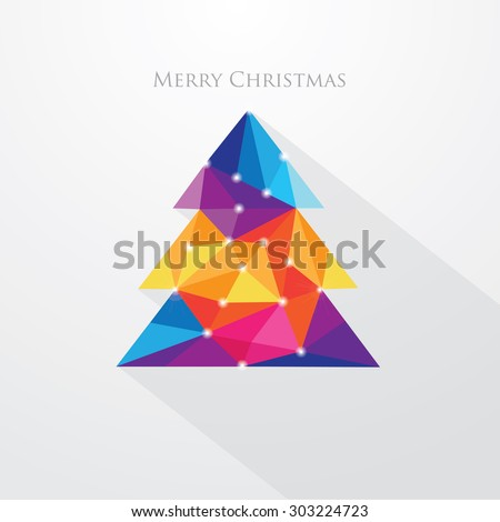 Low polygon style vibrant multicolored christmas tree vector illustration. Abstract triangular polygonal design - stock vector