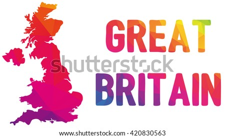 Low polygonal map of the United Kingdom of Great Britain and Northern Ireland in warm colors, UK, United Kingdom, Great Britain, England, Scotland, Wales, mosaic, colorful, cartography, Europe, island - stock vector