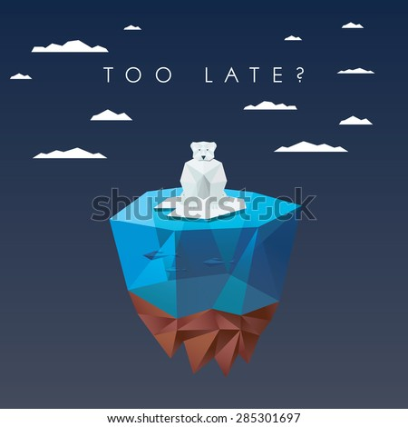 Low polygonal polar bear sitting on ice on floating island. Ecological background in modern poly design. Eps10 vector illustration. - stock vector