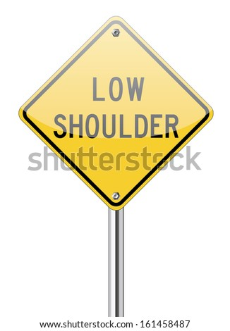 Low shoulder traffic yellow sign on white - stock vector