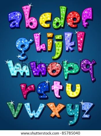 Lower case sparkling alphabet - stock vector