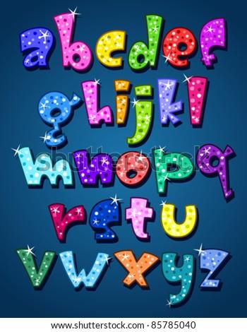 Lower case sparkling alphabet - stock vector