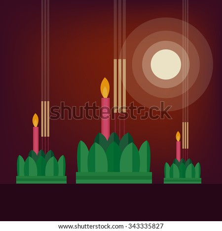Loy Krathong Festival and Yee Peng Festival - stock vector