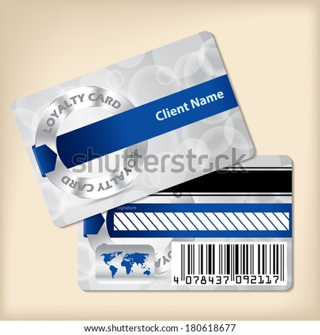 Loyalty card design with blue ribbon and bubbled gray background - stock vector