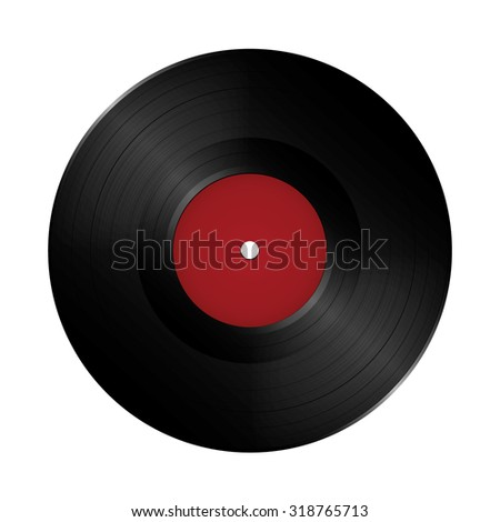 LP Vinyl Record. Realistic vector illustration. Isolated and empty template, ready for your design. - stock vector