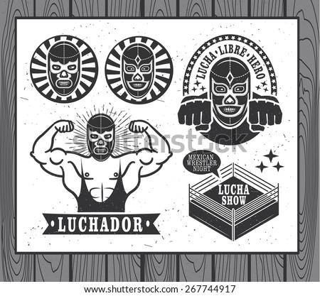 Lucha Libre vintage set - stock vector
