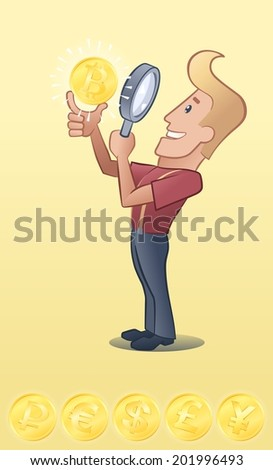 Lucky Guy. Cartoon man close looking golden coin through magnifying glass. Vector image have set of 6 currency signs (bitcoin, rouble, euro, dollar, pond and yen) - stock vector