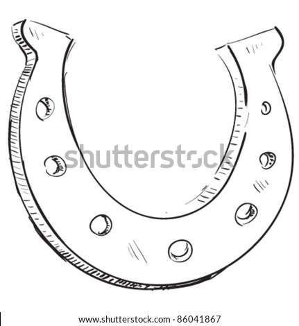 Lucky horseshoe cartoon icon. Sketch fast pencil hand drawing illustration in funny doodle style. - stock vector