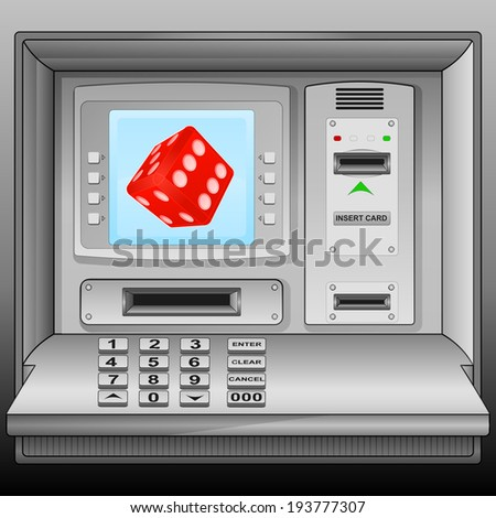 lucky red dice on cash machine blue screen vector illustration - stock vector