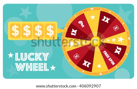 Lucky wheel flat illustration vector text is outlined - stock vector