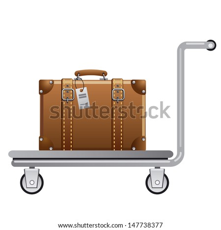 luggage cart - stock vector