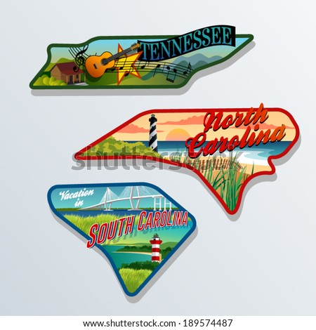 luggage sticker designs of Tennessee, South Carolina, and North Carolina United States - stock vector