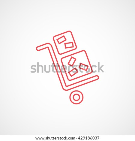 Luggage Trolley Red Icon On White Background - stock vector