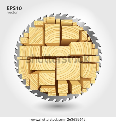 Lumber and wood slice illustration concept. Abstract creative saw. Sawmill color hd 3d web icon. Woodworking logo. - stock vector