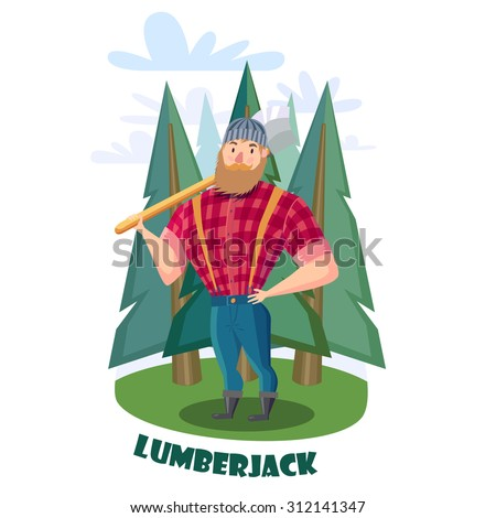 Lumberjack with axe in the forest. Lumberjack in red shirt and blue jeans. - stock vector