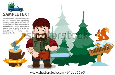 Lumberjack with chainsaw, infographics  - stock vector