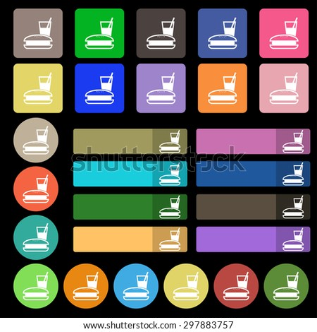 lunch box icon sign. Set from twenty seven multicolored flat buttons. Vector illustration - stock vector