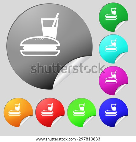 lunch box icon sign. Set of eight multi colored round buttons, stickers. Vector illustration - stock vector