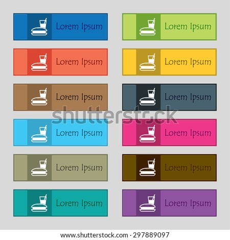 lunch box icon sign. Set of twelve rectangular, colorful, beautiful, high-quality buttons for the site. Vector illustration - stock vector