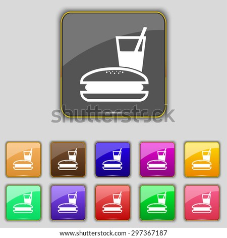 lunch box icon sign. Set with eleven colored buttons for your site. Vector illustration - stock vector