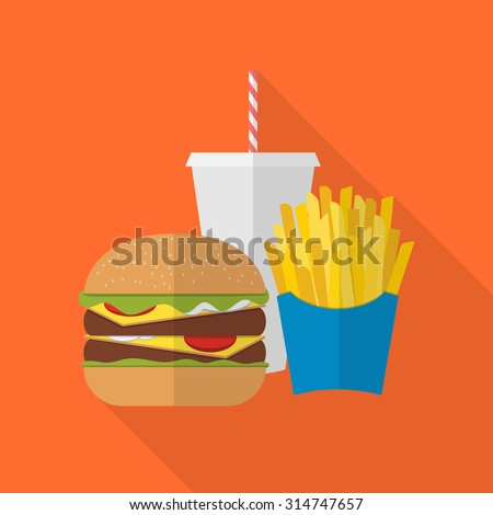Lunch french fries, burger and soda takeaway. Flat design. Fizzy drink, hot dog, cheeseburger, hamburger and other restaurant menu elements. Vector poster of unhealthy fast food - stock vector